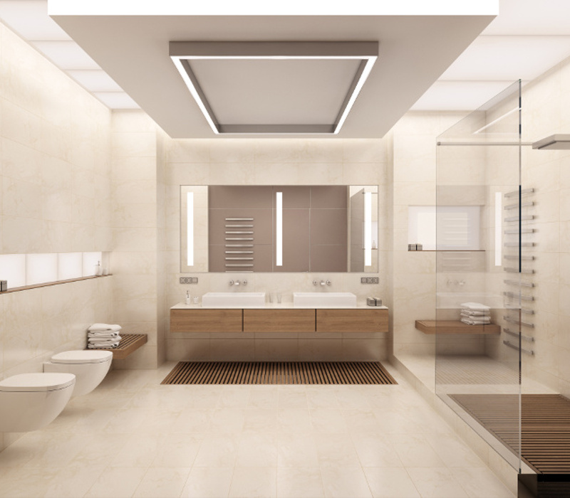 The interior of the bathroom in a contemporary style using natural materials.