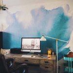 Mur en aquarelle bleu