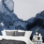 Mur aquarelle bleu foncé