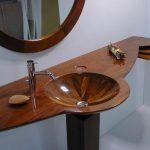 votre vasque marron incrustée d'aspect bois poli